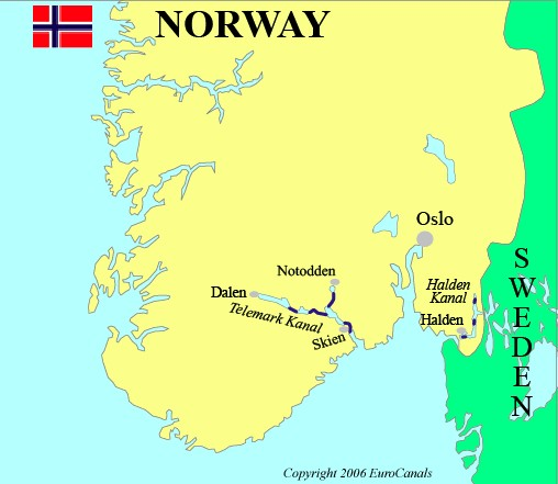 Norway waterways map
